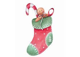 清新手绘水彩卡通圣诞节袜子动物形象插画设计