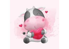 清新手绘水彩卡通奶牛动物形象插画设计
