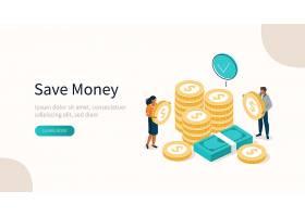 扁平化2.5D个人理财与电子商务金融主题插画设计图片