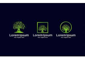 绿色树木形象主题LOGO图标徽章设计