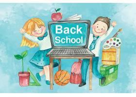 清新水彩风开学季主题学生插画设计