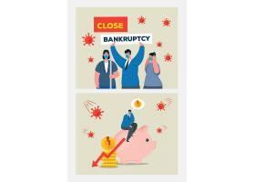 新冠病毒流行与金融经济影响主题人物插画设计