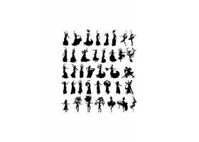 跳舞女郎人物剪影素材