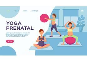 孕妇练习瑜伽主题人物装饰插画设计