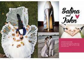 婚礼明信片包卷婚纱照排版素材模板