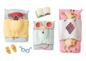 清新的可爱儿童风格动物形象设计与Q版物品素材