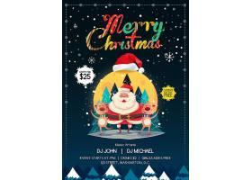 圣诞节平安夜卡通海报设计