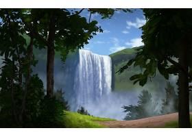 地球,瀑布,瀑布,CGI,数字的,艺术,艺术的,风景,森林,壁纸,
