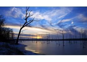 地球,日出,日落,冬天的,冰,严寒,秋天,季节,湖,天空,云,壁纸,
