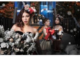 女人,亚洲的,女孩,妇女,模特,黑发女人,圣诞节,壁纸,图片