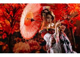 女人,亚洲的,妇女,模特,女孩,和服,黑发女人,饰头巾,口红,雨伞,壁图片