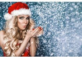 女人,模特,女孩,圣诞节,妇女,白皙的,长的,头发,圣诞老人,帽子,蓝图片