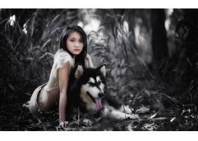 女人,亚洲的,女孩,狗,强壮的,妇女,模特,黑色,头发,壁纸,