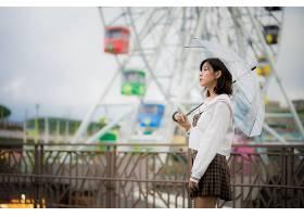 女人,亚洲的,女孩,雨伞,妇女,模特,深度,关于,领域,黑发女人,短的图片
