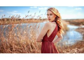 女人,模特,妇女,女孩,红色,穿衣,白皙的,深度,关于,领域,壁纸,