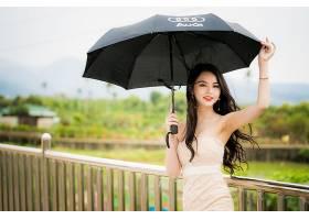 女人,亚洲的,女孩,雨伞,妇女,模特,深度,关于,领域,长的,头发,黑图片