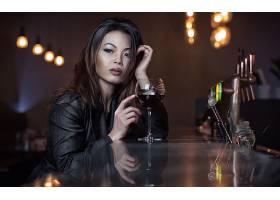 女人,亚洲的,妇女,模特,女孩,口红,葡萄酒,反射,黑发女人,棕色,眼