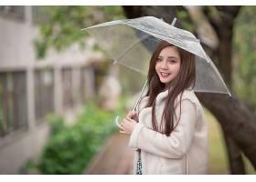 女人,亚洲的,妇女,模特,女孩,微笑,黑发女人,深度,关于,领域,雨伞图片