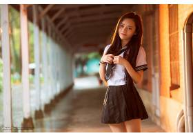 女人,亚洲的,妇女,模特,女孩,深度,关于,领域,学校,制服,长的,头