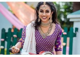 女人,模特,女孩,微笑,印度的,项链,耳环,珠宝,黑色,头发,妇女,壁图片