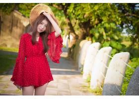 女人,亚洲的,女孩,妇女,模特,帽子,红色,穿衣,深度,关于,领域,黑