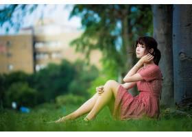 女人,亚洲的,女孩,妇女,模特,深度,关于,领域,穿衣,黑色,头发,壁