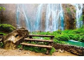 地球,瀑布,瀑布,楼梯,自然,植物,水,岩石,壁纸,