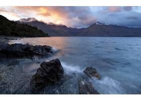 地球,山,山脉,海洋,日落,风景,云,壁纸,