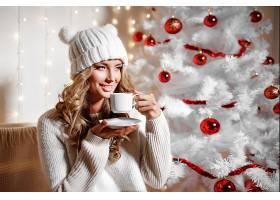 女人,模特,女孩,微笑,白皙的,妇女,小玩意,帽子,圣诞节,壁纸,图片
