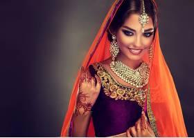 女人,模特,妇女,印度的,莎丽服,女孩,微笑,项链,耳环,珠宝,棕色,图片