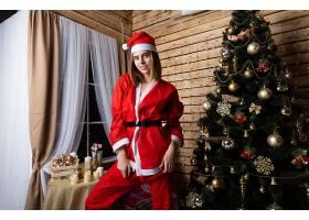 女人,模特,妇女,女孩,圣诞节,树,红发的人,圣诞老人,帽子,壁纸,图片