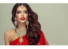 女人,模特,妇女,女孩,珠宝,口红,项链,耳环,长的,头发,黑发女人,图片