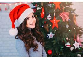女人,黑发女人,圣诞节,妇女,女孩,模特,圣诞老人,帽子,蓝色,眼睛,图片