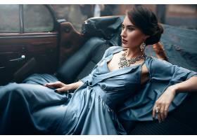 女人,模特,妇女,女孩,蓝色,穿衣,项链,珠宝,黑色,头发,情绪,耳环,