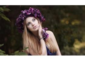女人,模特,女孩,花冠,妇女,白皙的,蓝色,眼睛,深度,关于,领域,壁