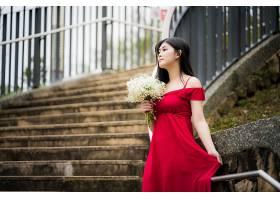 女人,亚洲的,妇女,模特,女孩,红色,穿衣,黑色,头发,深度,关于,领