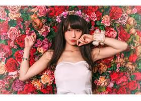 女人,亚洲的,妇女,模特,女孩,花,玫瑰,花冠,黑色,头发,壁纸,