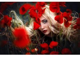 女人,模特,妇女,女孩,白皙的,蓝色,眼睛,口红,罂粟,红色,花,壁纸,