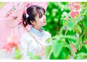 女人,亚洲的,妇女,模特,女孩,雨伞,粉红色,花,黑色,头发,壁纸,图片