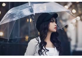 女人,亚洲的,妇女,模特,女孩,雨伞,黑色,头发,帽子,壁纸,图片