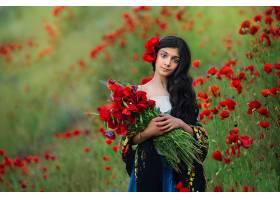 女人,模特,夏天,女孩,酒香,罂粟,红色,花,长的,头发,黑色,头发,壁