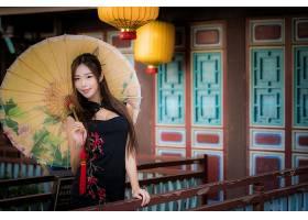 女人,模特,妇女,女孩,亚洲的,雨伞,长的,头发,黑发女人,黑色,穿衣图片