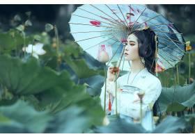 女人,亚洲的,妇女,模特,女孩,黑色,头发,脸,雨伞,和服,长的,头发,图片