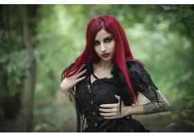 女人,模特,女孩,妇女,深度,关于,领域,文身,口红,红色,头发,黑色,