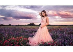 女人,模特,妇女,女孩,粉红色,穿衣,黑发女人,花,壁纸,