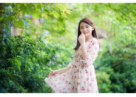 女人,亚洲的,女孩,微笑,穿衣,深度,关于,领域,妇女,模特,黑发女人