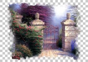 油画花,景观,油漆,花,托马斯・金卡德,楼梯,油画,凉亭,花园里,天