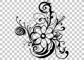 黑白花,绘图,圆,花卉,植物群,视觉艺术,花卉设计,线路,植物,叶,花