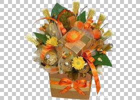 圣诞节和新年背景,花卉,橙色,切花,花卉设计,礼品篮,插花,篮子,水图片