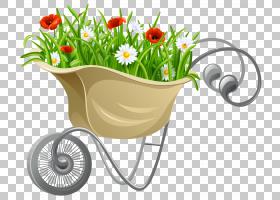 独轮车背景,花,花盆,植物群,植物,园林设计,独轮车,草坪,家得宝,